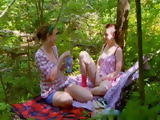 Lesbian Girlfriends Nichole and Alva Having Great Time On Picnic In the Woods