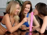 Three Teen Best Friends Trying To Figure Out Together How To Use Big Pink Dildo