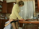 Sexy Russian Milf In Nylon Stockings Gets Anal Fucked In the Kitchen