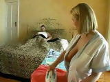 StepSon Jerks While Watch Busty Milf StepMother Ironing and Fuck Her After