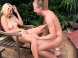 Stunning blonde teen fingering pussy in the great outdoor