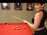 She likes snooker with a bare pussy under a micro skirt.