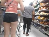 Young White Girl in booty shorts(Cheeks Out)