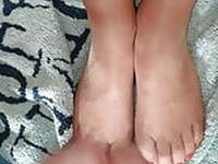 Wife suntan pantyhose tights footjob feet toes