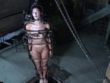 Gagged sub toyed before punished with a stick