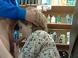 Sucks cock at work in the store