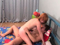Lustful teen russian gal Madelyn chokes on a meat rocket