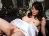 Japanese babe gets her big bra buddies out and screwed