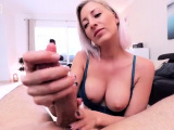 Busty Amateur Handjob with great Cumshot in Face