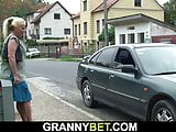 He picks up old blonde from the street and doggy-fucks