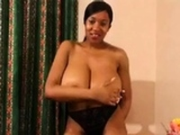 Huge tits hairy black girl solo