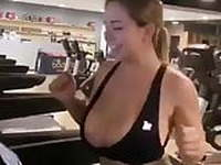 Big tit babe at gym