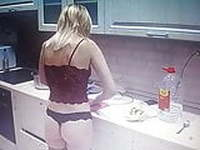 Young girl in Lingerie is cooking