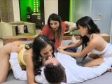 Bachelor fucks three Asian bombshells in a steam foursome