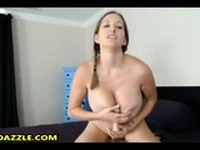 Amateur with big boobs toying