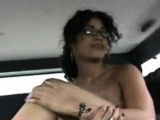 Gorgeous woman with huge natural tits blowing well