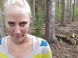 hot german amateur blonde outdoor blowjob nice facial.
