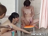 Bunch of Japanese babes secretly filmed peeing in the shower